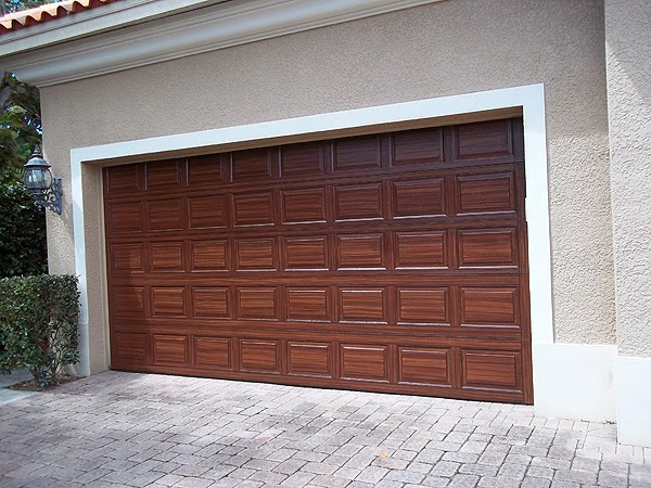 Steel Garage Door Painted To Look Like Wood