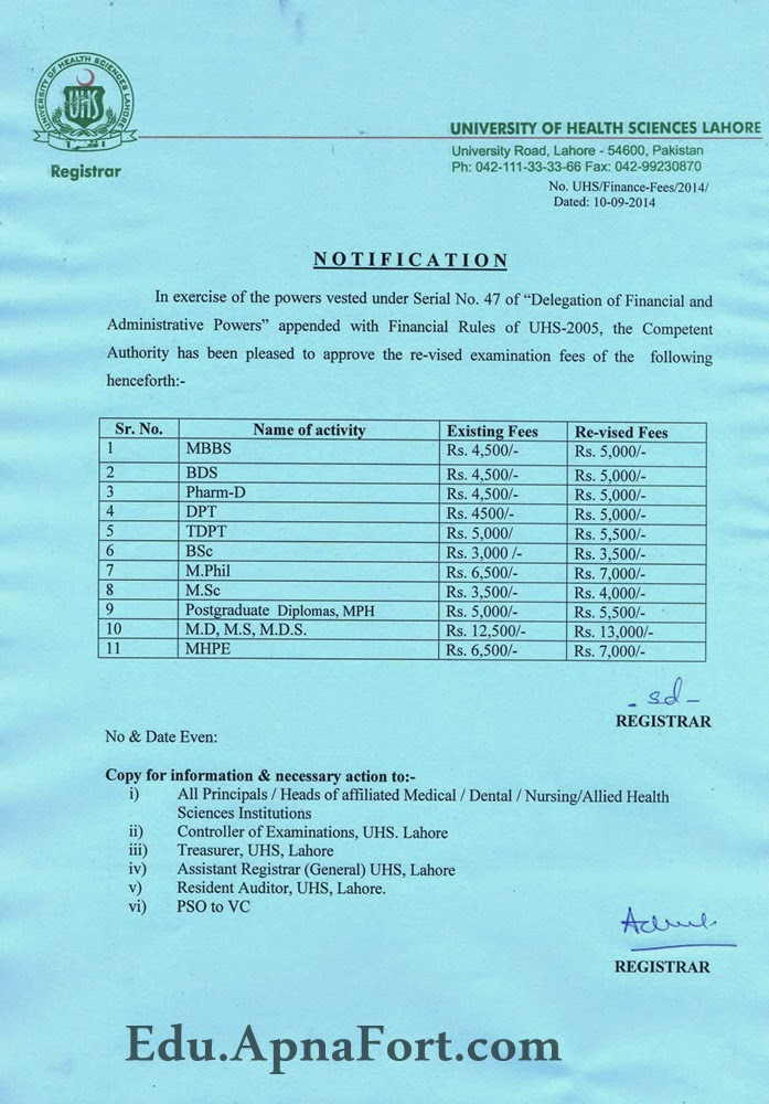 UHS Notification of Revised Examination Fee 2014-15