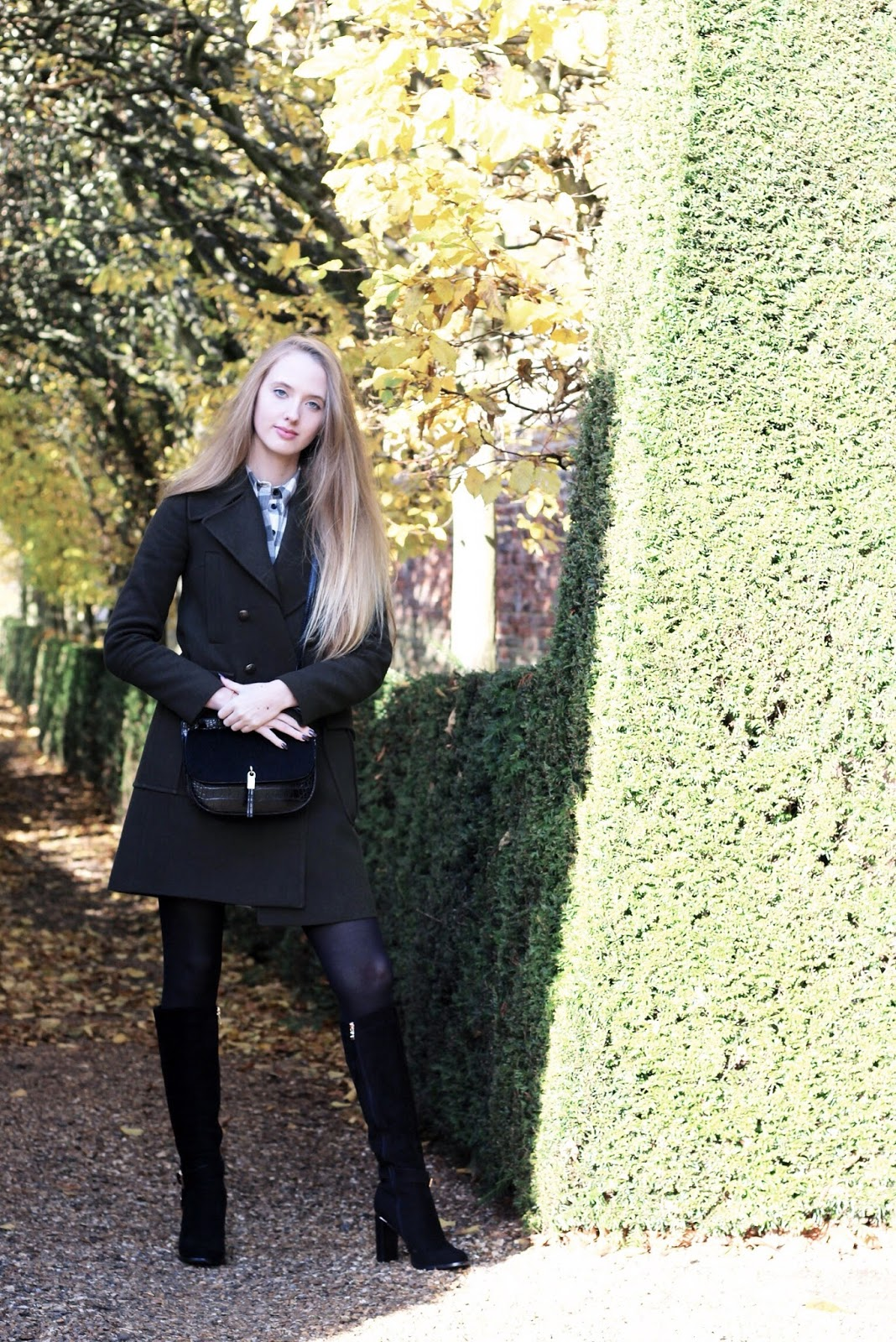 Khaki zara military coat styling london fashion blogger