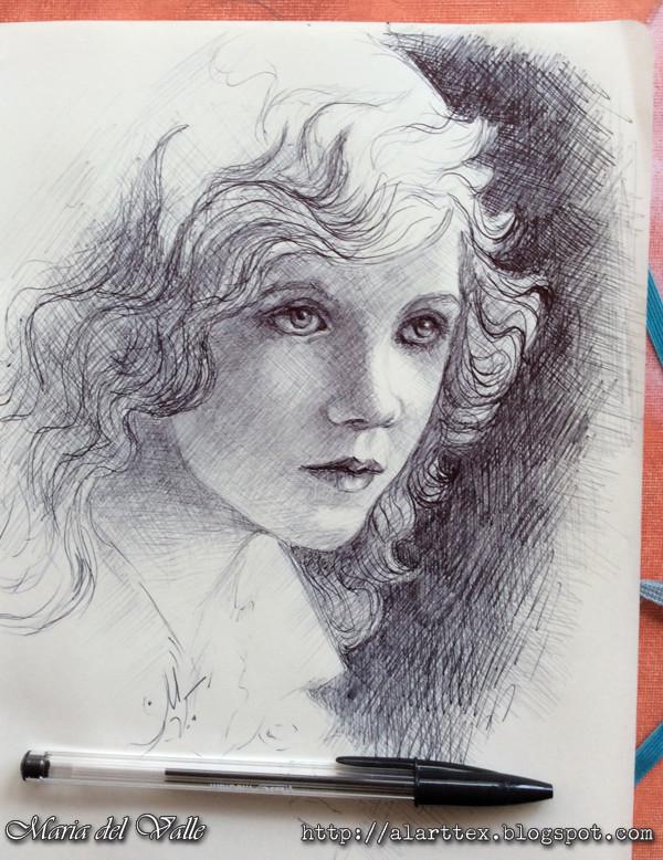 Ballpoint pen girl portrait