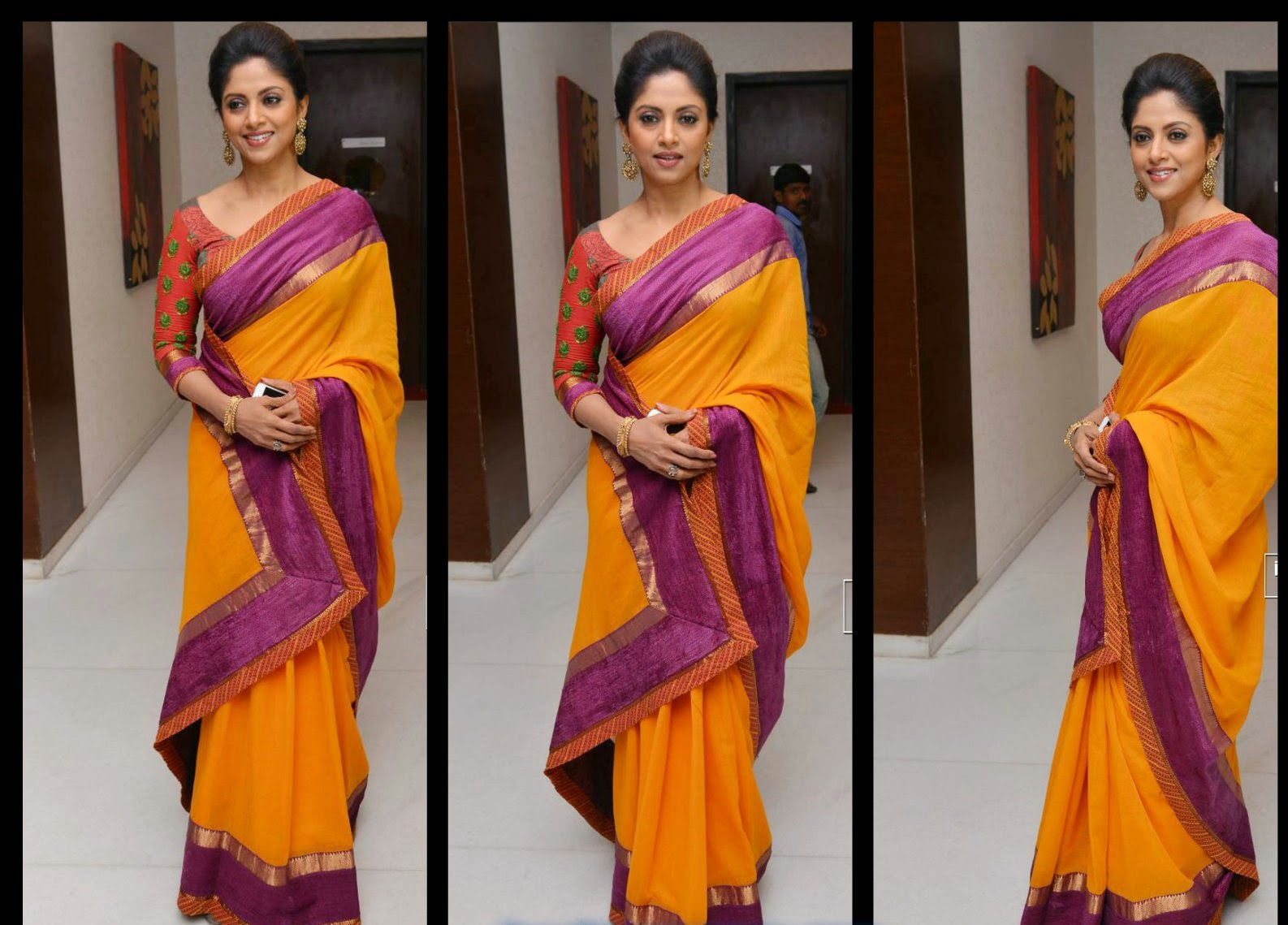"5968fece98f76a Tollywood and south indian actress nadhiya gorgeous in bright yellow silk  saree at ""Drushyam"" succes meet .it is plain yellow silk saree paired with  purple ..."