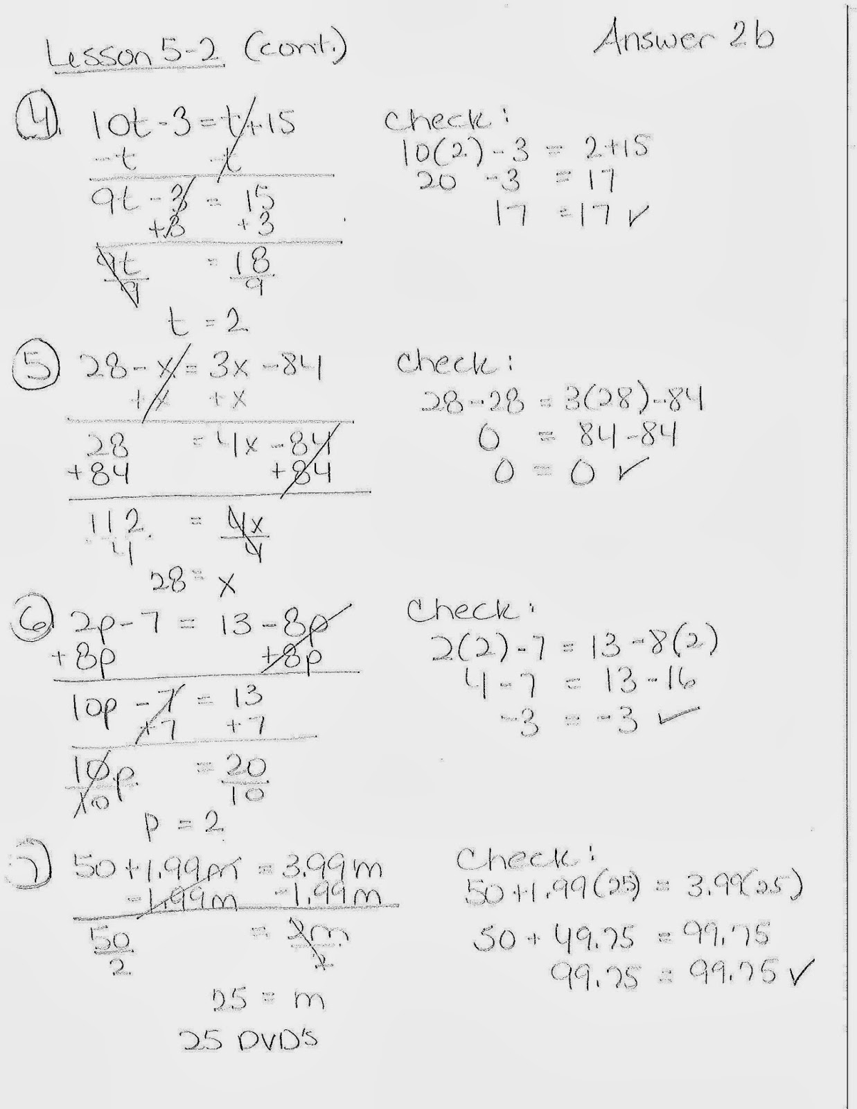 Lesson 5 2 Solving Equations With Variables On Both Sides 12 4 13