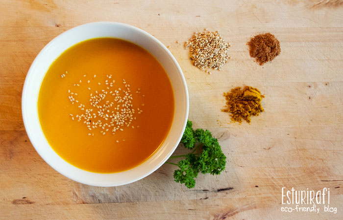 Receta. Crema de calabaza, curry, zanahorias