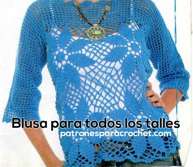 Blusa Ganchillo todos los talles / Moldes y patrones | Patrones para ...
