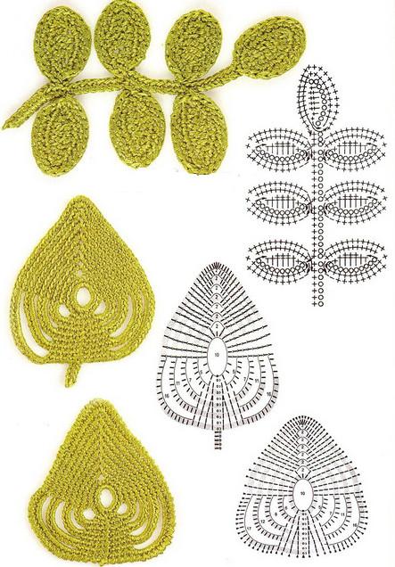 ирландское кружево вяжем листочки и веточки крючком