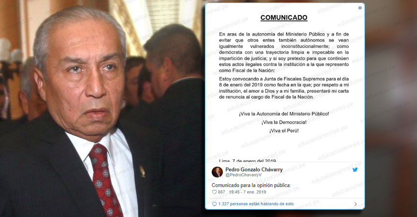 Pedro Chávarry presentará mañana su renuncia como Fiscal de la Nación ante Junta de Fiscales Supremos
