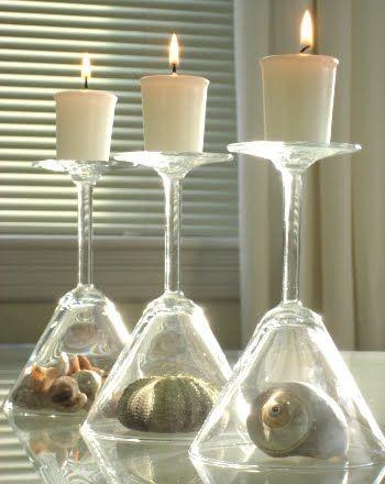 Wine Glasses Table Centerpiece Coastal Decor