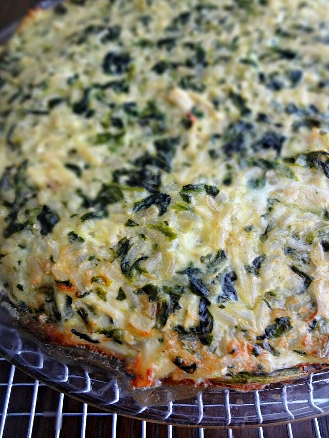 Rice, Cheddar, & Spinach Pie