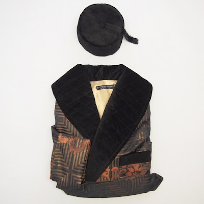 Mens Victorian Style Black Velvet Smoking Cap Dressing Gown with Tassels Long Lined Silk Robe Loungewear.