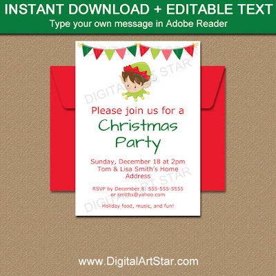 holiday Elf Invitation Template