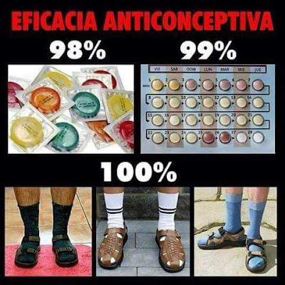 Eficacia anticonceptiva, condones, pastillas, sandalias, calcetines altos