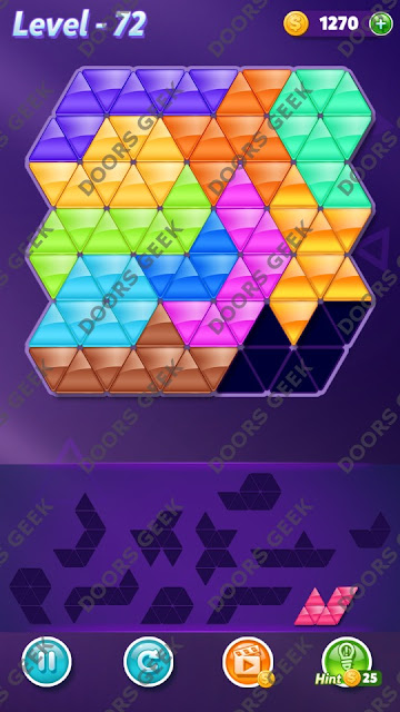 Block! Triangle Puzzle Challenger Level 72 Solution, Cheats, Walkthrough for Android, iPhone, iPad and iPod