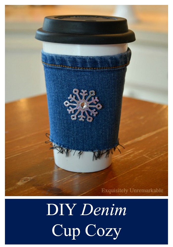 DIY Denim Cup Cozy completed with snowflake sticker on front