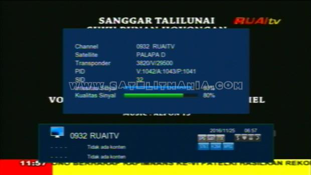 Daftar Satelit yang Menyiarkan Channel Ruai TV