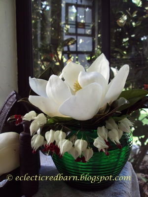 Eclectic Red Barn: Magnolia Flower with Bleeding Heart Vignette