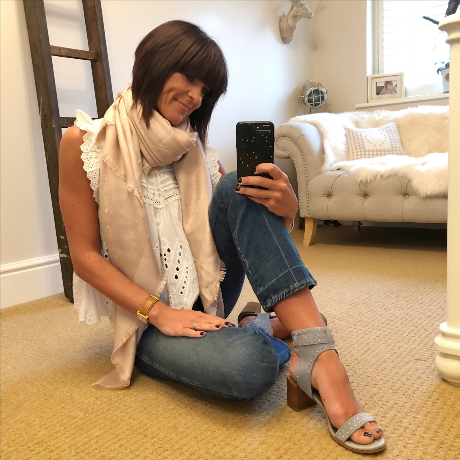 my midlife fashion, mulberry tree square rosewater silk cotton scarf, zara broderie anglaise top, j crew cropped kick flare jeans, marks and spencer studded block heel sandals