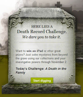 Ancestry.com Death Record Challenge. Win and iPad!