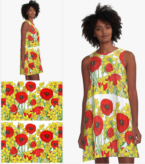 Red Poppies Yellow Daffodils Botanical Watercolor Summer Dress