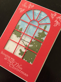 Arched Window with Winter Scene Hand Made Christmas Card