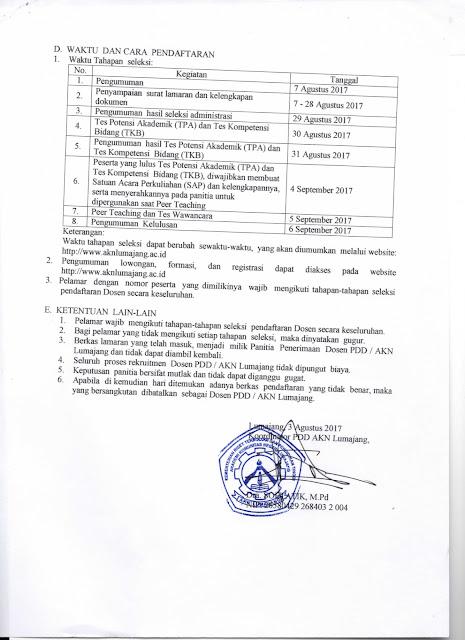 lowongan dosen, akademi komunitas negeri, AKN Lumajang, dosen tetap, non-pns, agustus 2017