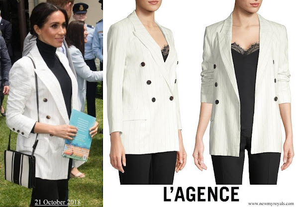 Meghan Markle wore L'AGENCE Brea pinstriped-linen and cotton blend blazer