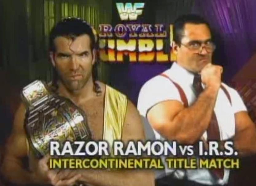 WWF / WWE ROYAL RUMBLE 1994: Razor Ramon defended the Intercontinental Championship against I.R.S