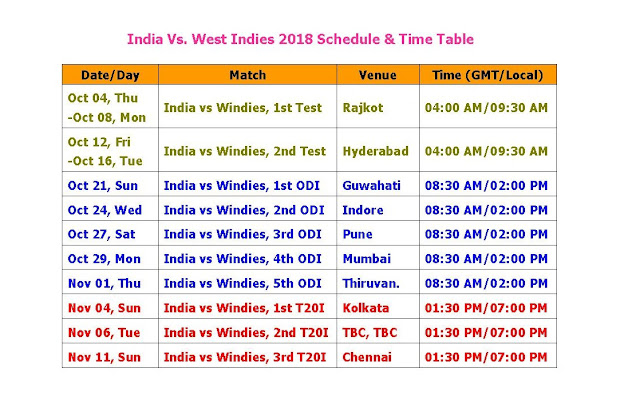 India Vs. West Indies 2018 Schedule & Time Table, Windies tour of India 2018 Schedule & Time Table, India vs windies cricket series 2018, windies vs India 2018 schedule, windies vs India 2018 time table, fixture, live match, live score, icc cricket calendar 2018, cricket schedule 2018, t20 series, odi series, Indian team squad, windies team squad, west indies tour to India 2018, IND vs. WI 2018 series, venue, place, match, city, ground,  Windies tour of India 2018 Schedule & Time Table 5 ODIs, 2 Tests, 3 T20s Start from Oct 04/2018 to Nov 11/2018
