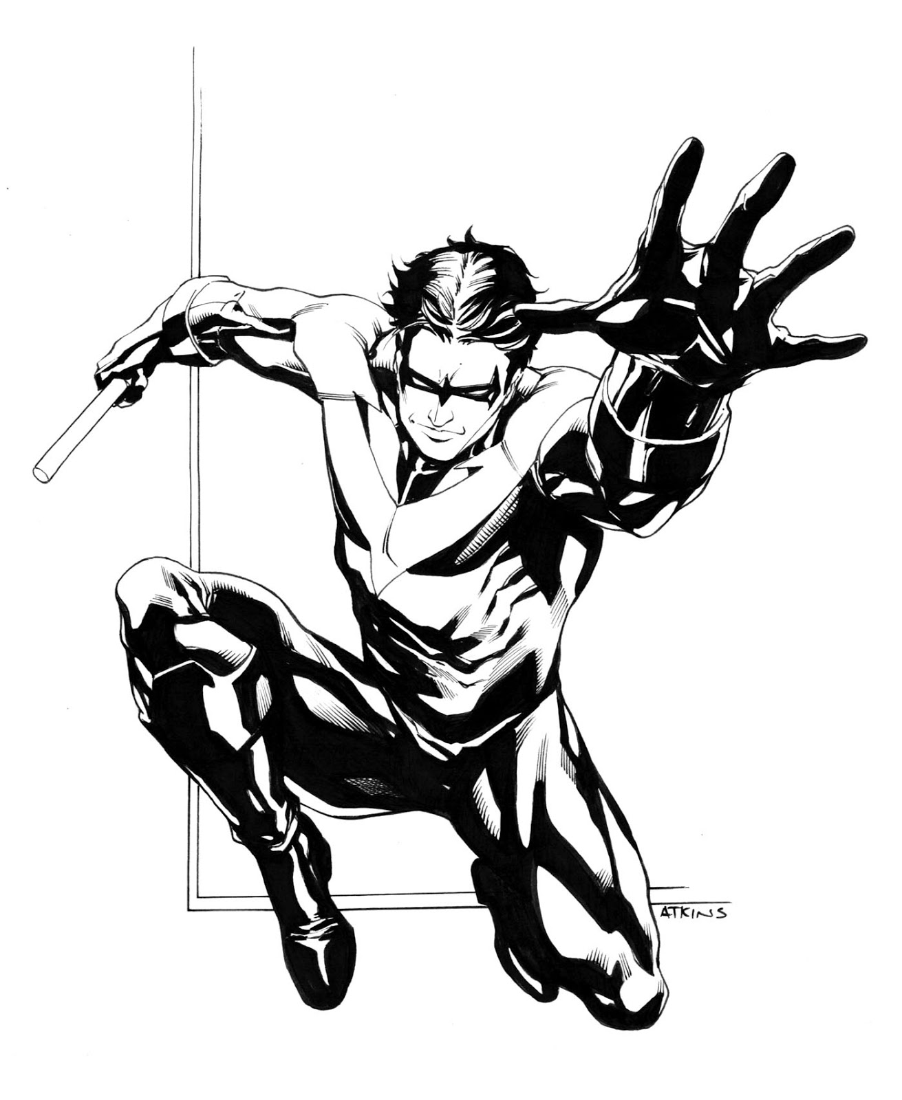 Comic book robin coloring pages ~ Robert Atkins Art: Nightwing...old and new...