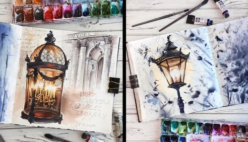 00-Alena-Ponkratova-Street-Lamps-Oil-Lamps-and-Candle-Light-Lamps-Watercolors