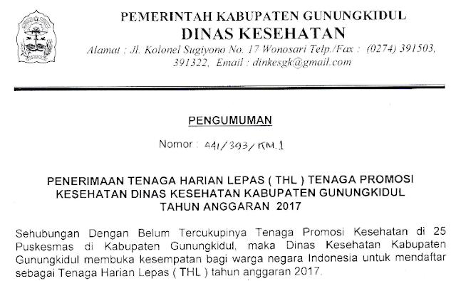 Penerimaan Tenaga Harian Lepas Dinas Kesehatan Kabupaten Gunungkidul