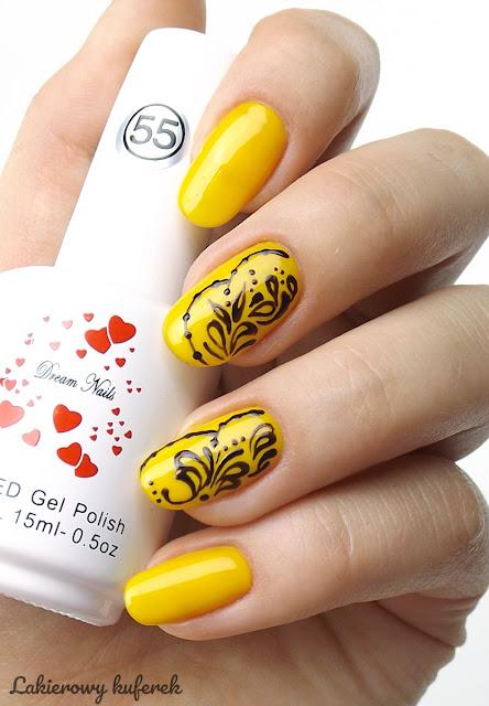 hybrydy, hybrydy Dream Nails, Żółte paznokcie, Pomysły na żółte paznokcie, Jak zrobić ornametny na paznokcaich, Mehendi na paznokciach,