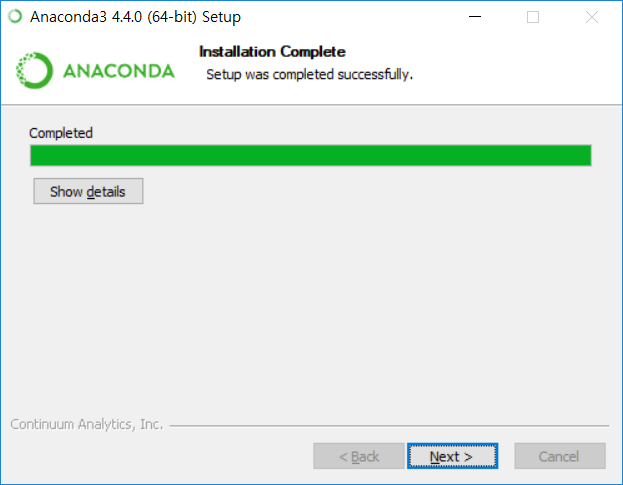 Anaconda3 설치 - 인스톨레이션 컴플릿