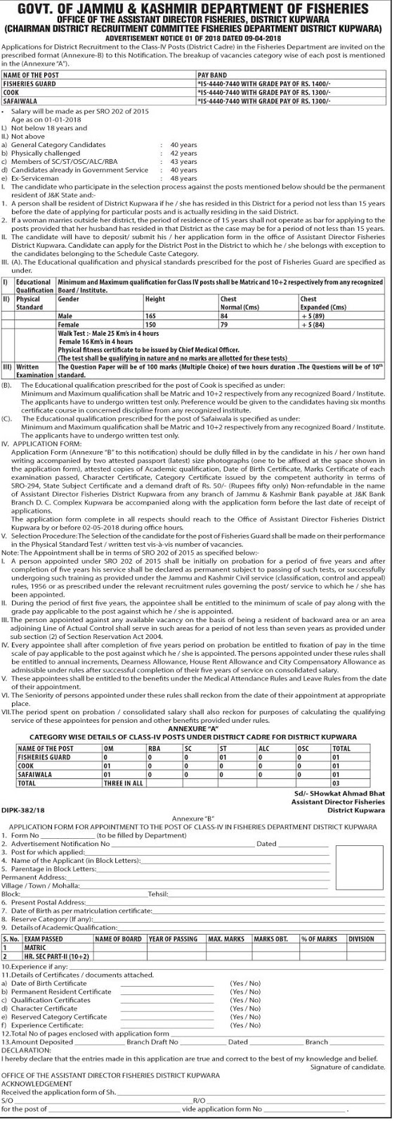 Department of Fisheries Kupwara Recruitment 2018 for Class IV Posts