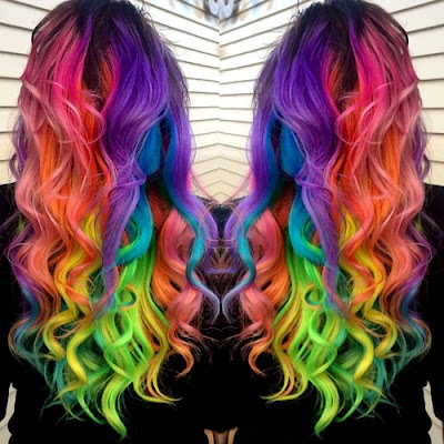 Full-On Rainbow Hair with Big Curls