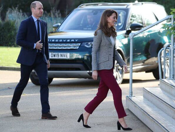Kate Middleton wore Smythe 2 button blazer, Gianvito Rossi Piper suede pumps, Mappin and Webb empress drop earrings