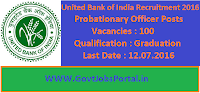 United Bank of India Recruitment 2016 for 100 Probationary Officers Apply Online Here