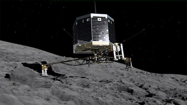 sonda Philae na superfície do cometa 67P / C-G