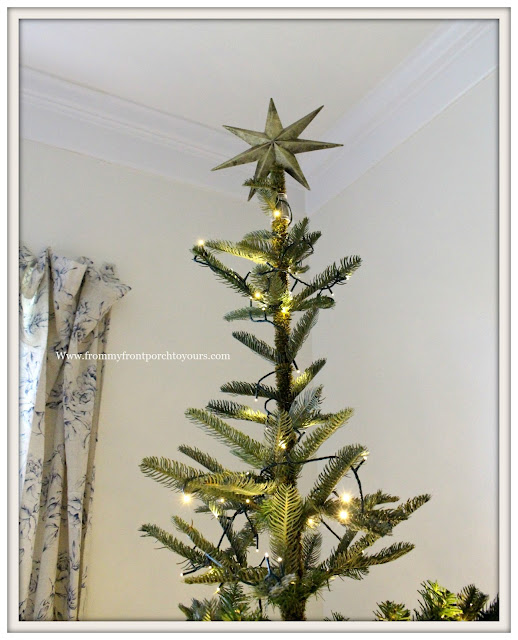 French Country Farmhouse Christmas Bedroom-Christmas Tree-Gold Star-From My Front Porch To Yours