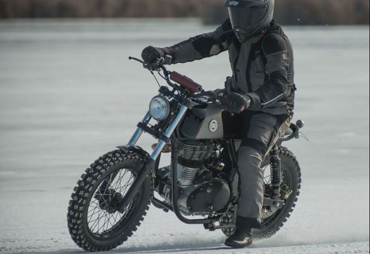 Royal Scrambler custom Royal Enfield running on ice.