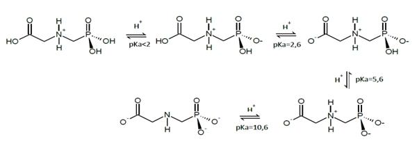 glifosato apresenta uma sequência de equilíbrios e constantes de dissociação de acordo com a figura