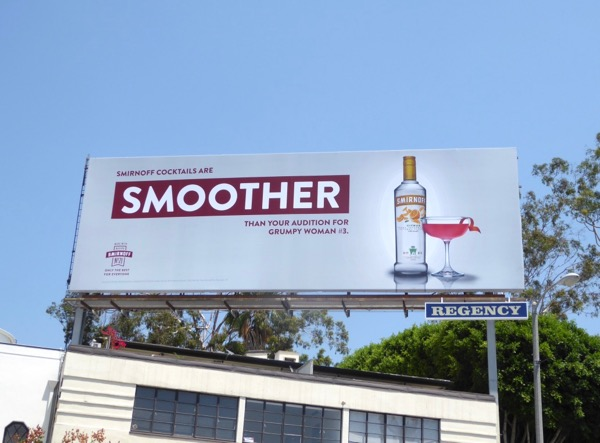 Smirnoff smoother grumpy woman billboard
