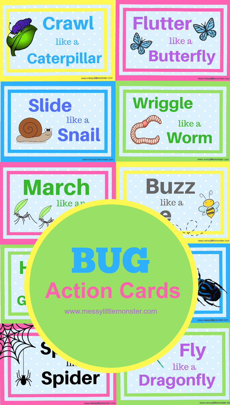 Bug action movement cards for kids. Keep toddlers and preschoolers active with these bug themed printable activity cards.tivity cards.