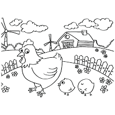 Most Popular Printable Chicken Family On Farm Coloring Book