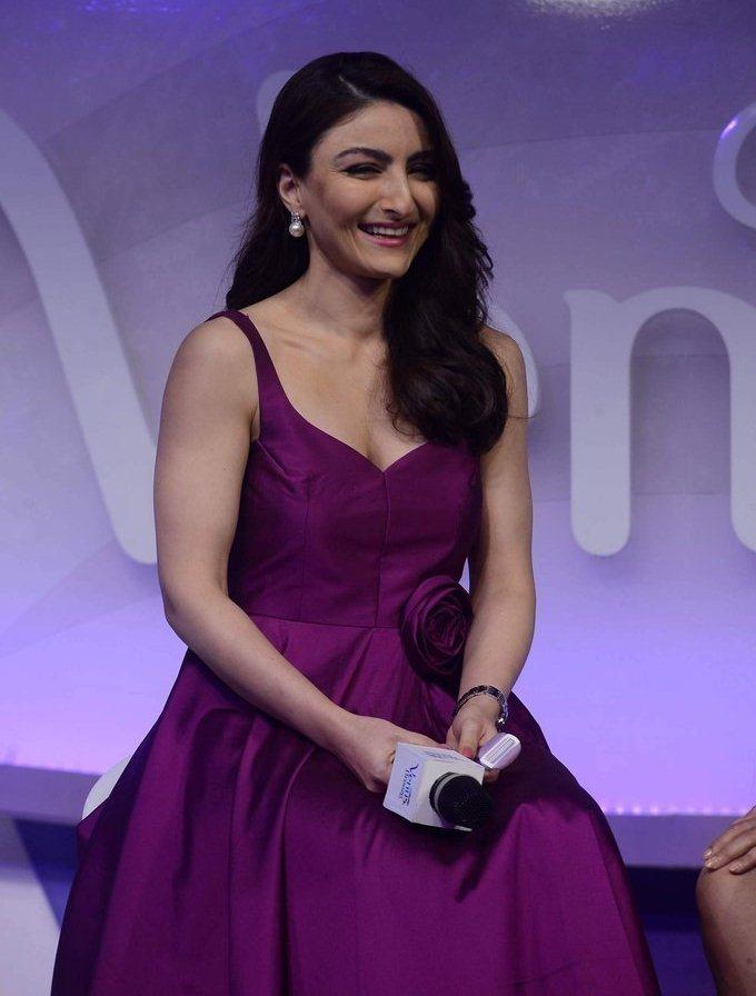 Soha Ali Khan Hot Legs Thigh Stills In Mini Violet Dress