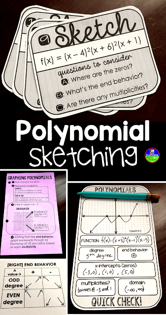 Are your Algebra 2 students struggling with the steps to sketch polynomials? In this post are links to activities I use in my math class and a few free downloads.