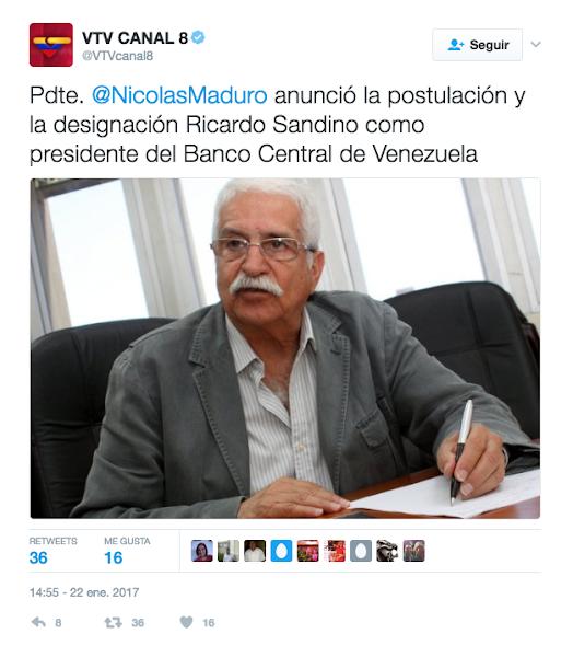VTV mete la pata anunciando a un tal Ricardo Sandino como presidente del BCV