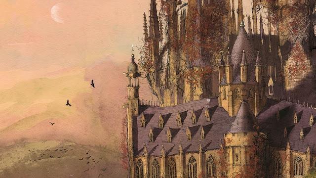 Замъкът Хогуортс нарисуван от Джим Кей