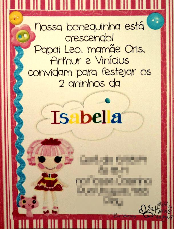 Ateliê Das Horas Vagas Aline Barbosa Convite Lalaloopsy