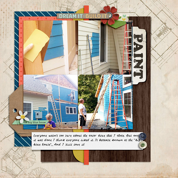 A scrapbook page about the  color of our house.
