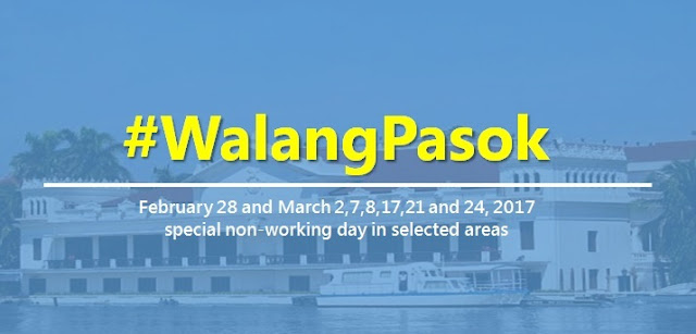 #WalangPasok: February 28, March 2, 7, 8, 17, 21 and 24, 2017 special holiday in selected areas